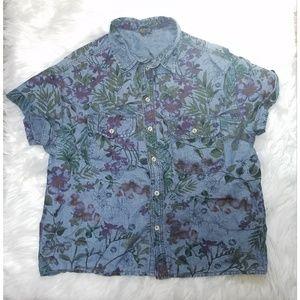 TOPSHOP Floral denim blouse